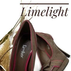 Limelight  Brown Pink Suede Bow Platform Heels 9m